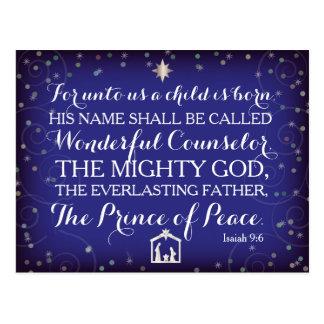 9:6 d'Isaïe pour à nous un enfant est né Carte Postale