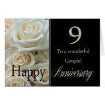 9èmes roses heureux d'anniversaire carte de vœux