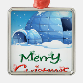 A christmas template with an igloo Silver-Colored square ornament