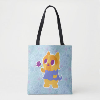 """""""A Flower For You"""" Short-haired Kawaii Yorkie Tote Bag"""