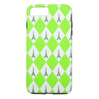 A girly neon green diamond eiffel tower pattern iPhone 7 plus case