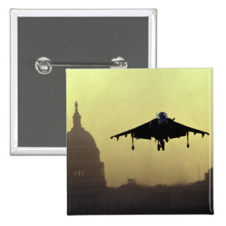 A Harrier jet landing on the Mall at dawn with 2 Inch Square Button