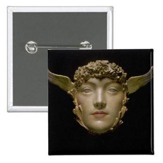 A Mask, c.1897 2 Inch Square Button