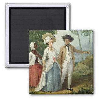 A Planter and his Wife, Attended by a Servant, c.1 Square Magnet
