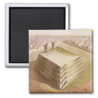 A Teocalli in Mexico (colour engraving) Square Magnet