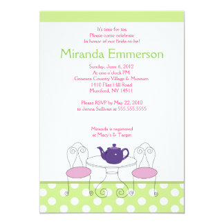 "A Time for Tea Green Dot & Pink Bridal Shower 5x7 5"" X 7"" Invitation Card"