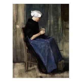 A Young Scheveningen Woman Knitting Postcard