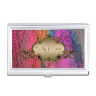 Abstract Art with Vintage Frame Business Card Cases