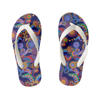Abstract bright geometric all-over design kid's flip flops