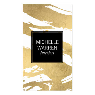 Abstract Faux Gold Foil Brushstrokes Designer Business Card