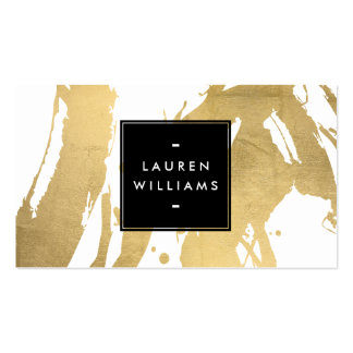 Abstract Faux Gold Foil Brushstrokes on White Business Card