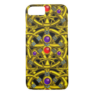 ABSTRACT GOLD CELTIC KNOTS WITH COLORFUL GEMSTONES iPhone 7 CASE