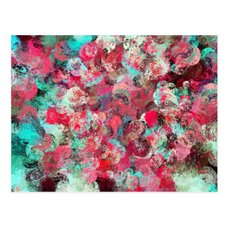 Abstract pink black teal brushstrokes pattern postcard