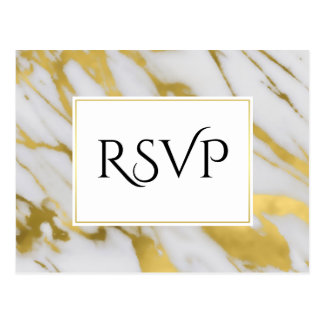 Abstract Refinement Golden Marble RSVP Postcard