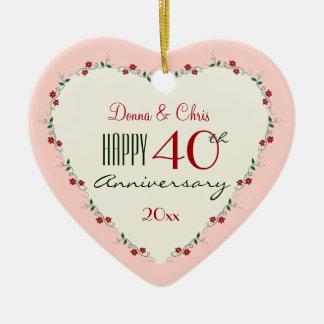 Acclamations aux quarantième cadeaux de Noël Ornement Cœur En Céramique