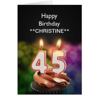Add a name, 45th birthday card