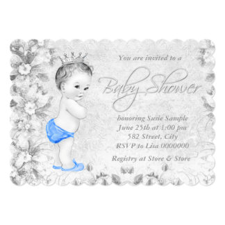 """Adorable Vintage Boys Blue and Gray Baby Shower 5"""" X 7"""" Invitation Card"""