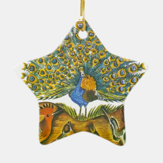 Aesop's fables, the peacock and the birds ceramic star ornament