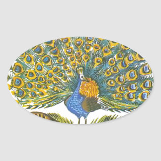 Aesop's fables, the peacock and the birds oval sticker