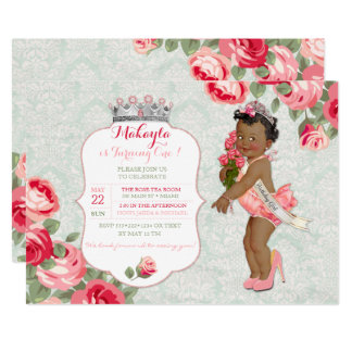 """African American Pageant Princess Baby 5"""" X 7"""" Invitation Card"""