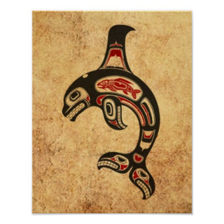 Aged Red and Black Haida Spirit Killer Whale Poster