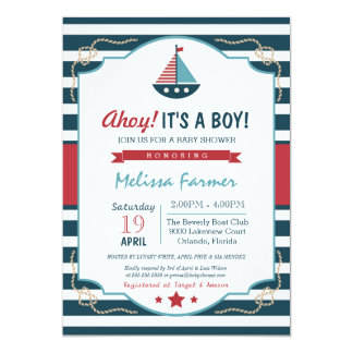 """Ahoy It's A Boy!  Nautical Navy & Red Baby Shower 5"""" X 7"""" Invitation Card"""