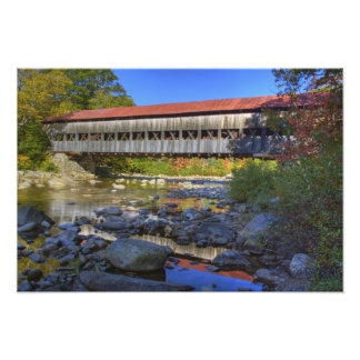 Albany covered bridge over Swift River, White Photo Print
