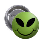 Alien Happy Smiley Face 2 Inch Round Button