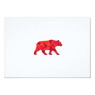"American Black Bear Walking Low Polygon 3.5"" X 5"" Invitation Card"