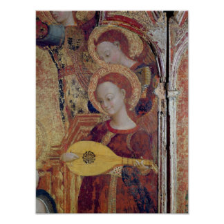 Angel musicians from painting of Virgin and Child Poster