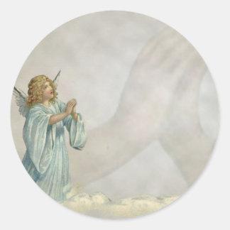 ANGEL PRAYING ROUND STICKER