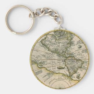 Antique Map, America Sive Novus Orbis, 1596 Basic Round Button Keychain