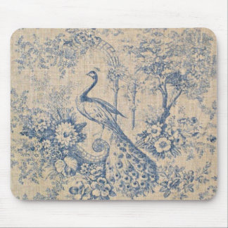 Antique Peacock Toile Mouse Pad