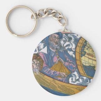 Antique Ptolemaic World Map; Claudius Ptolemy Basic Round Button Keychain