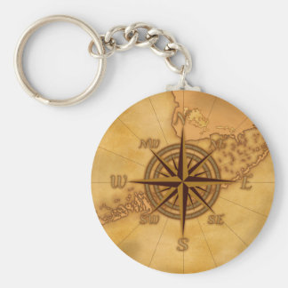 Antique Style Compass Rose Basic Round Button Keychain