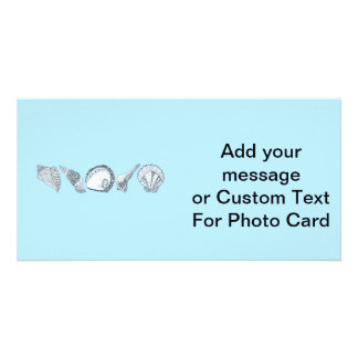 Any Color Hand Drawn Seashell Collection Customized Photo Card