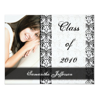 "Any Year~ White Formal Design Photo Graduation 4.25"" X 5.5"" Invitation Card"