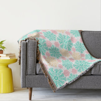 Aqua Pink and Gold Snowflakes in Winter Throw Blanket