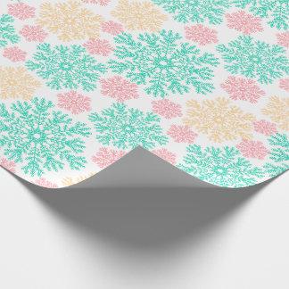Aqua Pink and Gold Snowflakes Pattern