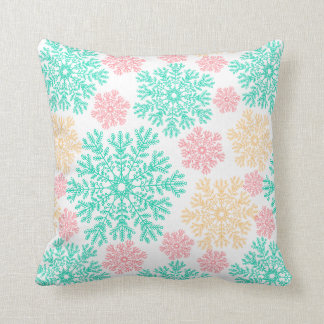 Aqua Pink and Gold Snowflakes Pattern Pillow