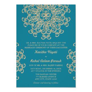"AQUAMARINE BLUE AND GOLD INDIAN STYLE WEDDING 5"" X 7"" INVITATION CARD"