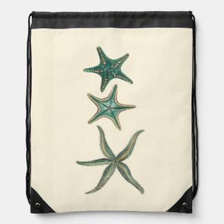 Aquamarine Triple Starfish Drawstring Bags