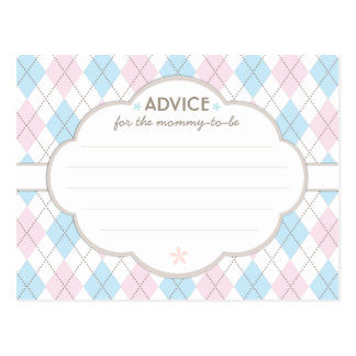 Argyle Baby Shower Advice for Mommy to Be Postcard
