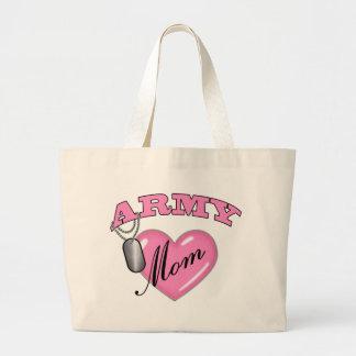 Army Mom Heart N Dog Tag Jumbo Tote Bag