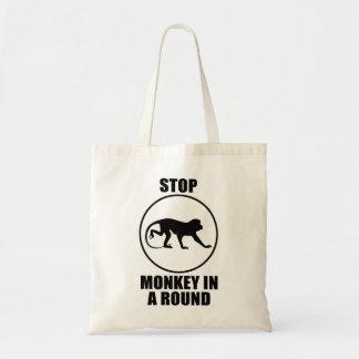 Arrêtez le singe dans un rond sac en toile budget
