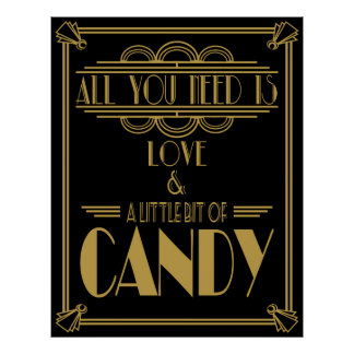 """Art Deco """"Candy Bar"""" Gatsby style Black & Gold Poster"""