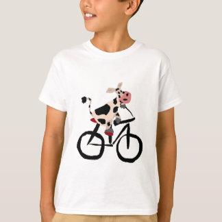 Art drôle de bicyclette d'équitation de vache tee shirt