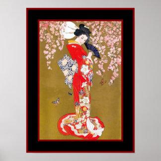 Art Japanese Geisha Lady Vintage Poster