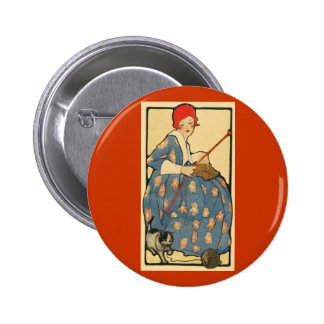 Art Nouveau -Girl knitting with her cat 2 Inch Round Button