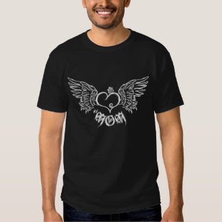 Artistic Tattoo Mom Crowned Heart with Wings Tees